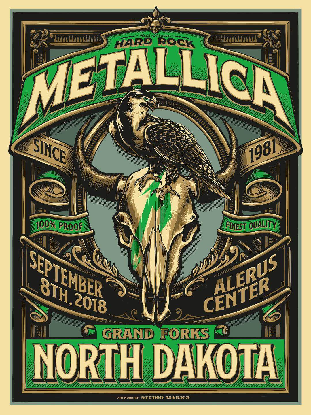 Metallica Tourposter 2018-09-08 - Grand Forks, ND