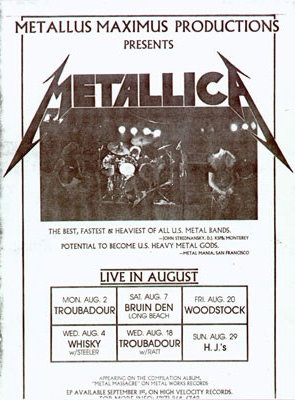 Metallica Tourposter 1982-08-07 - Long Beach, CA