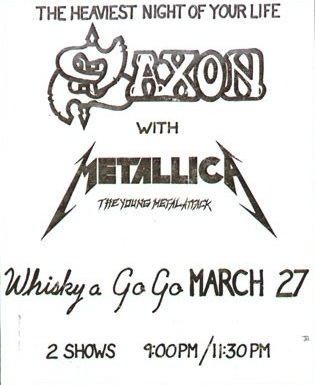 Metallica Tourposter 1982-03-27 - West Hollywood, CA